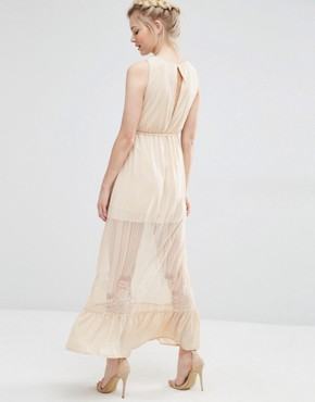photo Sheer Insert Maxi Dress by Vero Moda Petite, color Ivory Cream - Image 2