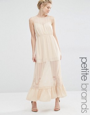 photo Sheer Insert Maxi Dress by Vero Moda Petite, color Ivory Cream - Image 1