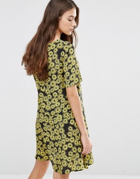 photo Floral Printed Swing Dress by YMC, color Yellow/Black - Image 2