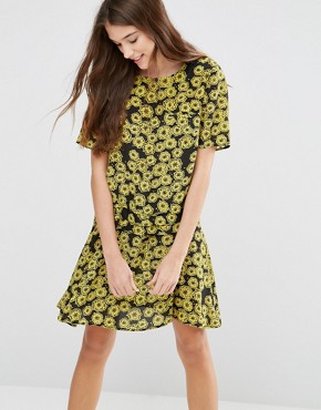 photo Floral Printed Swing Dress by YMC, color Yellow/Black - Image 1