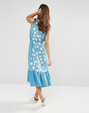 photo Patterened Shift Dress by YMC, color Powder Blue - Image 2