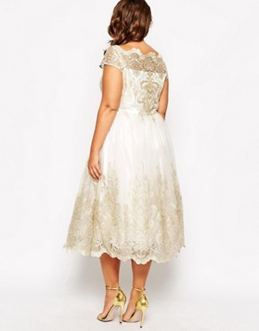 photo Premium Lace Prom Dress with Cap Sleeve by Chi Chi London Plus, color Cream - Image 2