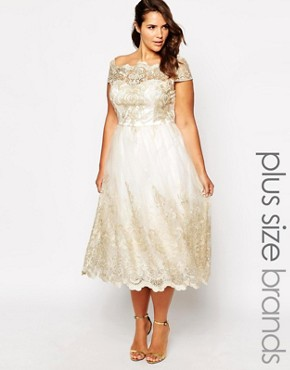 photo Premium Lace Prom Dress with Cap Sleeve by Chi Chi London Plus, color Cream - Image 1