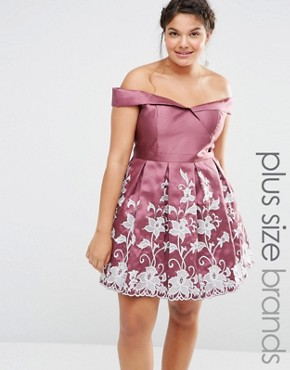 photo Embroidered Bardot Prom Dress by Chi Chi London Plus, color Pink - Image 1
