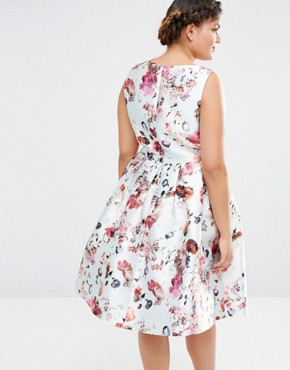 photo Plunge Front Skater Dress in All Over Floral Print by Chi Chi London Plus, color Multi - Image 2