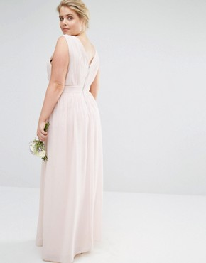 photo Wrap Embellished Maxi Dress by TFNC Plus WEDDING, color Pink - Image 2