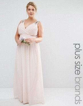 photo Wrap Embellished Maxi Dress by TFNC Plus WEDDING, color Pink - Image 1