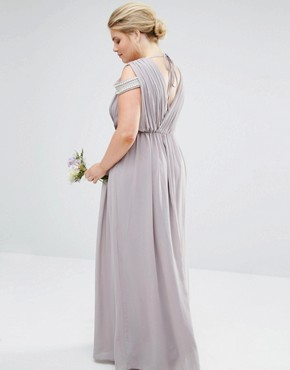 photo Cold Shoulder Wrap Front Maxi Dress by TFNC Plus WEDDING, color Grey - Image 2