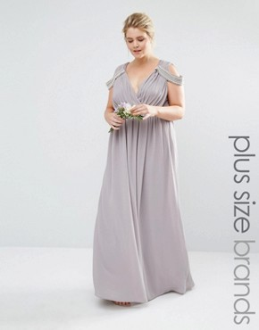 photo Cold Shoulder Wrap Front Maxi Dress by TFNC Plus WEDDING, color Grey - Image 1
