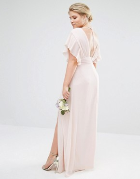 photo Fluted Sleeve Embellished Waist Maxi Dress by TFNC Plus WEDDING, color Pink - Image 2