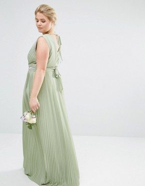 photo Pleated Embellished Wrap Maxi Dress by TFNC Plus WEDDING, color Green - Image 2