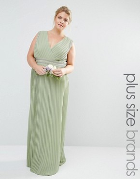 photo Pleated Embellished Wrap Maxi Dress by TFNC Plus WEDDING, color Green - Image 1