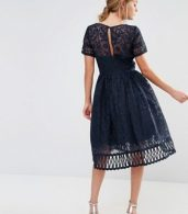 photo Premium Lace Dress with Cutwork Detail and Cap Sleeve by Chi Chi London, color Navy - Image 2