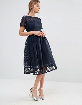 photo Premium Lace Dress with Cutwork Detail and Cap Sleeve by Chi Chi London, color Navy - Image 4