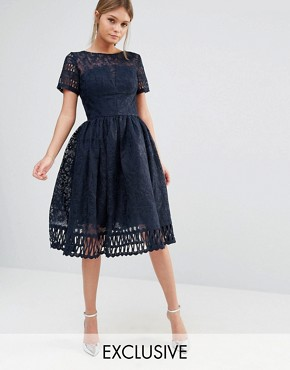 photo Premium Lace Dress with Cutwork Detail and Cap Sleeve by Chi Chi London, color Navy - Image 1