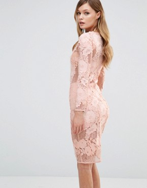 photo Long Sleeved Lace Midi Dress by Dark Pink, color Nude - Image 2