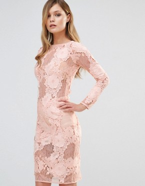 photo Long Sleeved Lace Midi Dress by Dark Pink, color Nude - Image 1