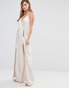photo Silky Slip Maxi Dress with Button Detail by Dark Pink, color Taupe Metallic - Image 1