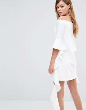 photo Off Shoulder Mini Dress with Frill Sleeve by Dark Pink, color White - Image 2