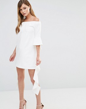 photo Off Shoulder Mini Dress with Frill Sleeve by Dark Pink, color White - Image 1