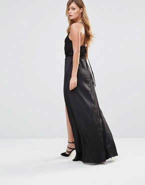 photo Silky Slip Maxi dress with Button Detail by Dark Pink, color Black Satin - Image 2