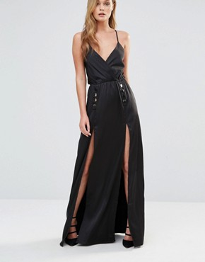photo Silky Slip Maxi dress with Button Detail by Dark Pink, color Black Satin - Image 1