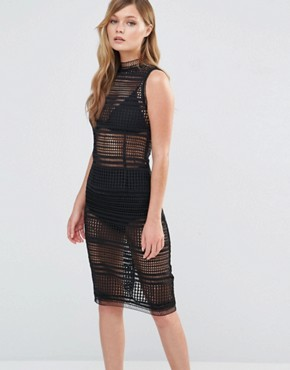 photo Midi Lace Dress with High Neck by Dark Pink, color Black - Image 1