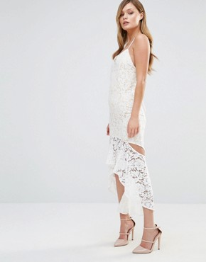 photo Cami Strap Midi Lace Dress with Side Cut Out by Dark Pink, color Cream/Nude - Image 1