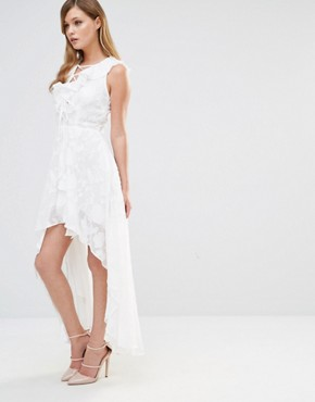 photo Frill Dress with Lace Up Detail by Dark Pink, color White - Image 1