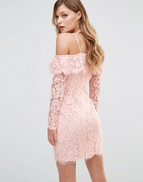 photo Off Shoulder Frill Dress by Dark Pink, color Nude - Image 2