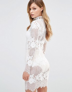 photo High Neck Lace Dress by Dark Pink, color White - Image 2