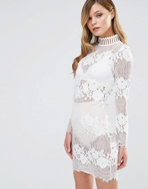 photo High Neck Lace Dress by Dark Pink, color White - Image 1