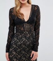 photo V Neck Midi Lace Dress with Long Sleeves by Dark Pink, color Black/Nude - Image 3
