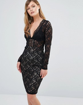 photo V Neck Midi Lace Dress with Long Sleeves by Dark Pink, color Black/Nude - Image 1