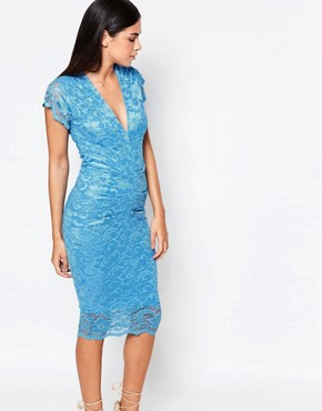 photo V Neck Lace Midi Dress by Honor Gold, color Blue - Image 1