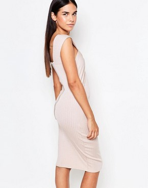 photo Cross Front Bandage Midi Dress by Honor Gold, color Blush - Image 2