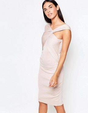 photo Cross Front Bandage Midi Dress by Honor Gold, color Blush - Image 1