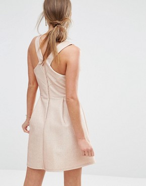 photo Metallic Skater Dress by Oasis, color Pink - Image 2