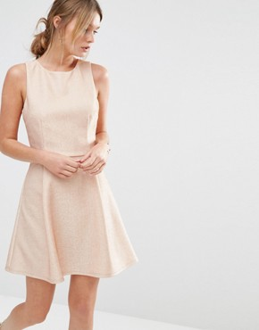 photo Metallic Skater Dress by Oasis, color Pink - Image 1