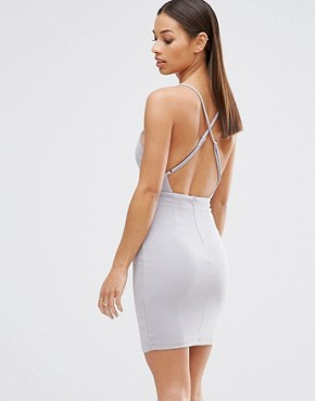 photo Plunge Cami Back Bodycon Dress by NaaNaa Petite, color Nude - Image 2