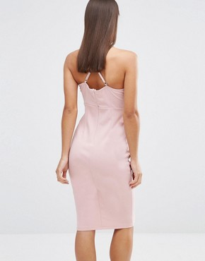 photo Sleeveless Plunge Cross Back Pencil Dress by NaaNaa Petite, color Tawny Rose - Image 2