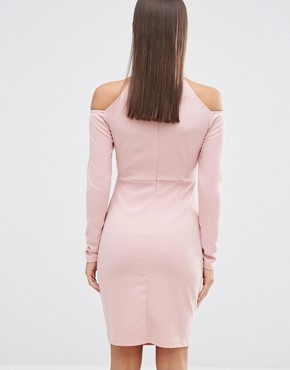 photo Off The Shoulder Cage Detail Bodycon Dress by NaaNaa Petite, color Tawny Rose - Image 2