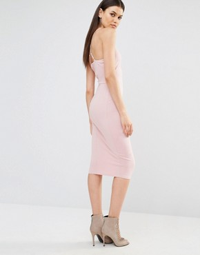 photo Sleeveless Plunge Cross Back Pencil Dress by NaaNaa Tall, color Tawny Rose - Image 2