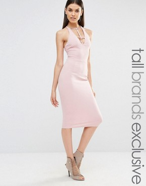 photo Sleeveless Plunge Cross Back Pencil Dress by NaaNaa Tall, color Tawny Rose - Image 1
