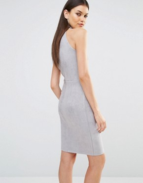 photo High Neck Lace Up Pencil Dress by NaaNaa Tall, color Grey Blue - Image 2
