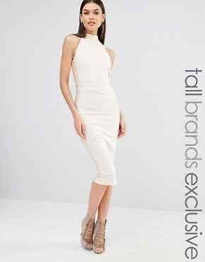 photo Highneck Sleeveless Pencil Dress by NaaNaa Tall, color Champagne - Image 1