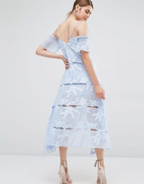 photo Floral Embroidered Midi Dress by Self Portrait, color Sky Blue - Image 2