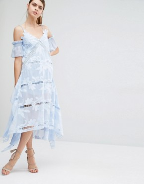 photo Floral Embroidered Midi Dress by Self Portrait, color Sky Blue - Image 4