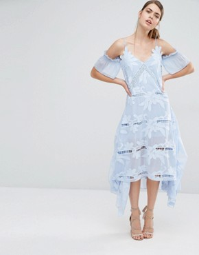 photo Floral Embroidered Midi Dress by Self Portrait, color Sky Blue - Image 1