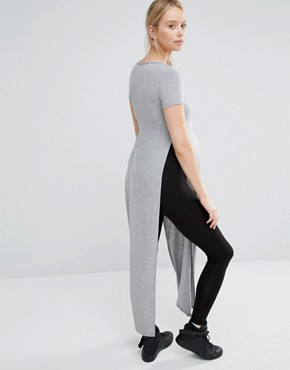 photo Short Sleeve Jersey Maxi Dress with Side Splits by Club L Lounge Maternity, color Grey - Image 2